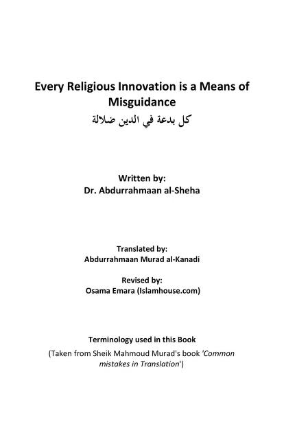 Every innovation is a means of misguidance and quot bidah and quot download pdf book
