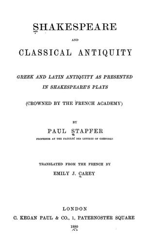 Download Shakespeare and classical antiquity