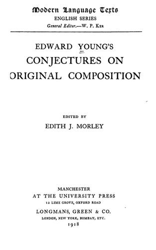 Download Edward Young's Conjectures on original composition