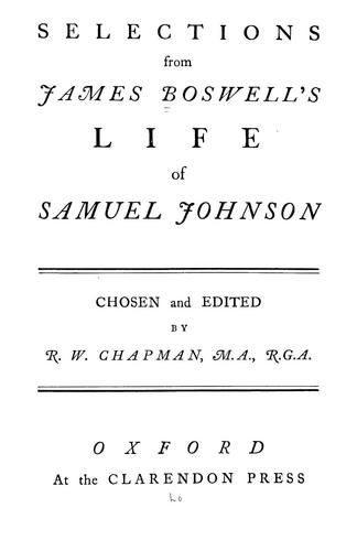 Download Selections from James Boswell's Life of Samuel Johnson