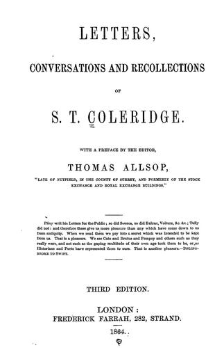 Letters, conversations and recollections of S.T. Coleridge