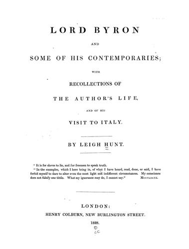 Download Lord Byron and some of his contemporaries
