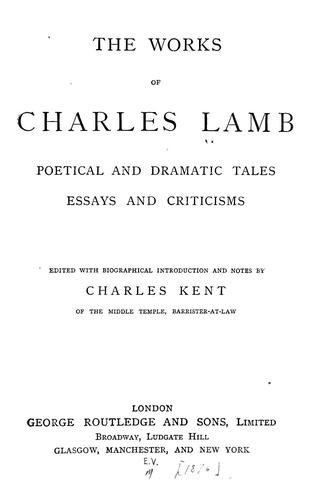 Works: poetical and dramatic tales, essays and criticisms