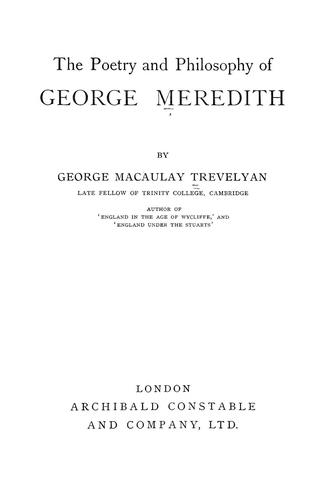 Download The poetry and philosophy of George Meredith