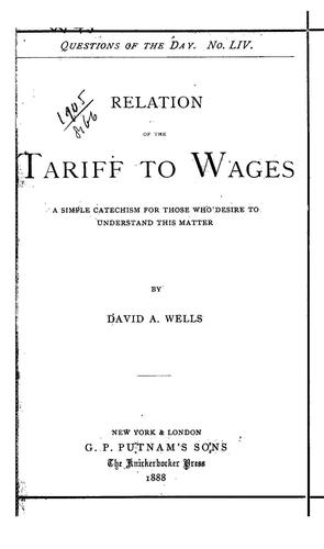 Relation of the tariff to wages