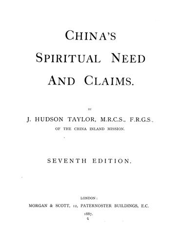Download China's spiritual need and claims