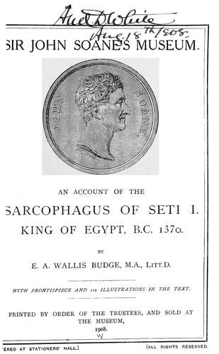 Download An account of the sarcophagus of Seti I, king of Egypt, B.C. 1370