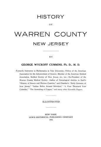 History of Warren County, New Jersey by George Wyckoff Cummins