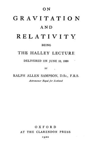 On gravitation and relativity by R. A. Sampson