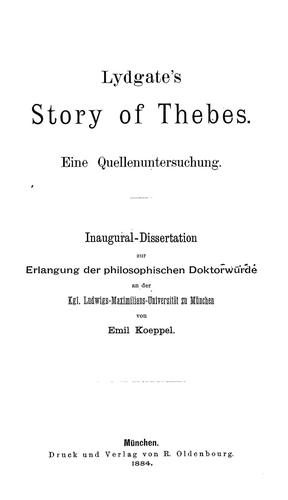 Lydgate's Story of Thebes by Emil Koeppel