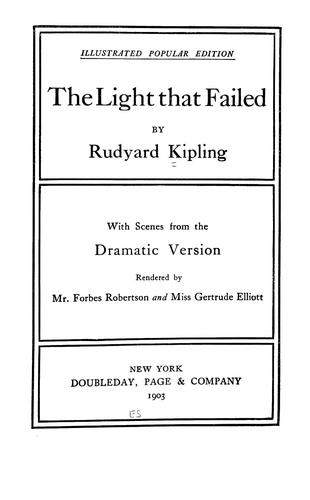 The light that failed by Rudyard Kipling