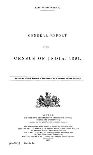 Census of India, 1891 by India. Census Commissioner.