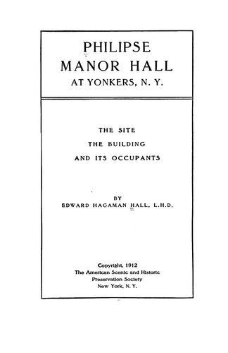 Philipse manor hall at Yonkers, N.Y.